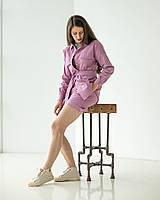 Розовый женский костюм с рубашкой и шортами, натуральный лен