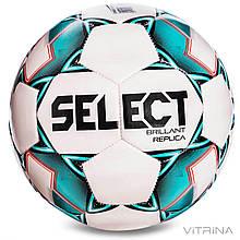 Футбольний м'яч №4 Select Brillant Replica new REP-4-WG (PVC 1000, білий-зелений-чорний)