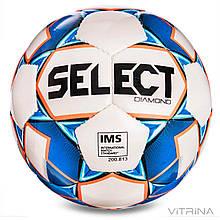 Футбольний м'яч професійний №5 Select Diamond IMS new WB (FFPUS 1200, білий-синій-оранжевий)