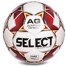 Футбольний м'яч професійний №5 Select Flash Turf IMS WR (FPUS 1500, білий-червоний)