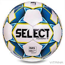 Футбольный мяч профессиональный №5 Select Numero 10 IMS WB (FPUS 1500, белый-синий)