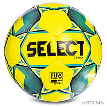 Футбольний м'яч професійний №5 Select Team FIFA YG (FPUS 1300, жовтий-бірюзовий)