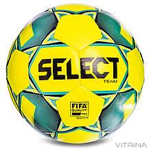 Футбольный мяч профессиональный №5 Select Team FIFA YG (FPUS 1300, желтый-бирюзовый)