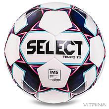 Футбольний м'яч професійний №5 Select Tempo TB IMS WR (FPUS-T 1600, білий-фіолетовий)