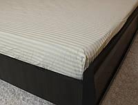 Двоспальне простирадло на резинці - Біла полоска