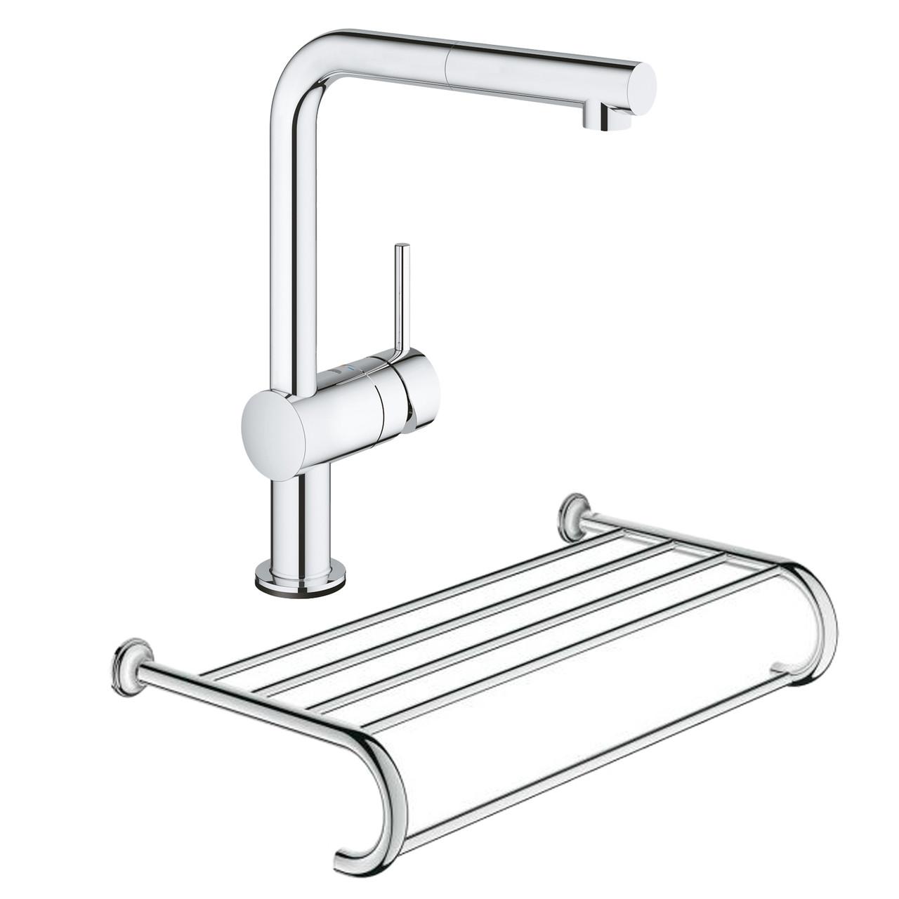 Набор Grohe смеситель для кухни сенсорный Minta Touch 31360001 + полка для полотенец Essentials Authentic