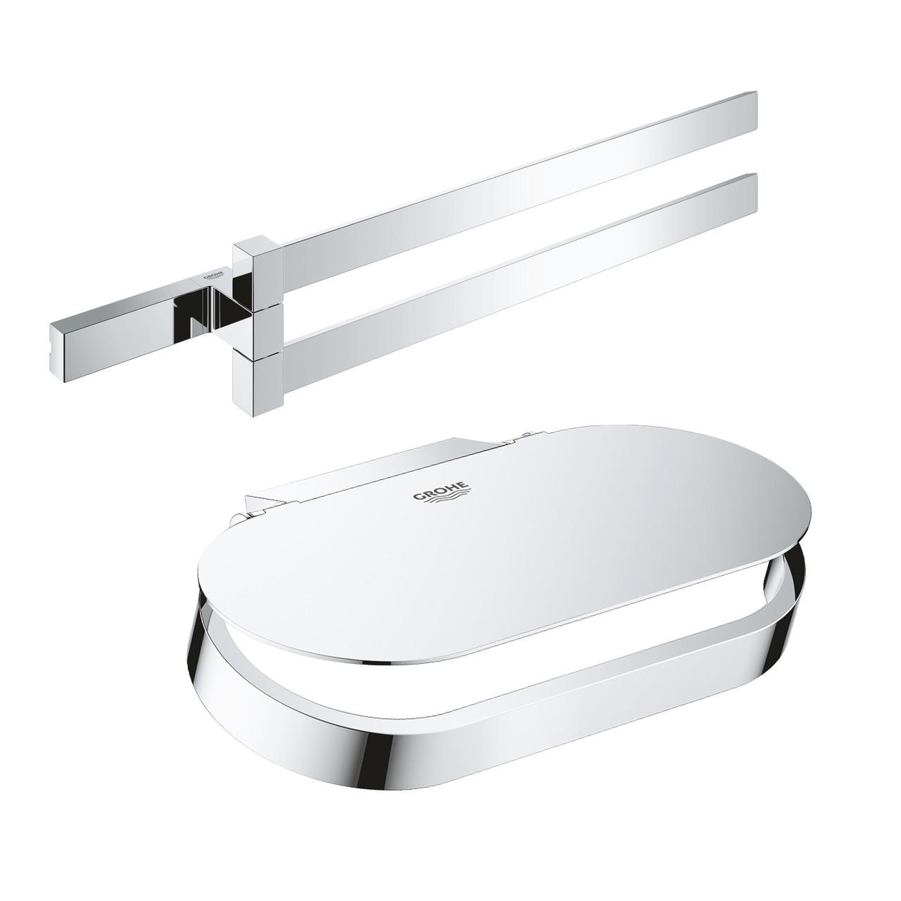 Набір аксесуарів Grohe полотенцедержатель Selection Cube 40768000 + тримач для туалетного паперу Selection