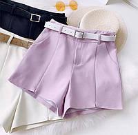 Женские классические шорты в лиловом цвете (с ремнем)