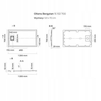 Піддон для душу Oltens Bergytan 120X70 см, фото 2