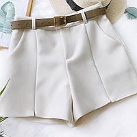 Женские классические шорты в белом цвете (с ремнем)