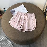 Женские трикотажные розовые шорты на резинке