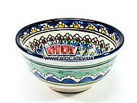 Миска узбекская глубокая 16х7,5см 600мл, ручная роспись (вариант 13)
