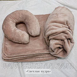 Набор 3в1(махра): чехол на кушетку, подушка, плед Цвет: светлая пудра