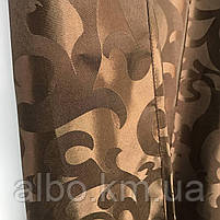 Штори в зал ALBO з жаккарда 150х270 cm (2 шт) з ламбрекеном 300 cm коричневі (LS220-12), фото 6