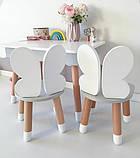 Дитячий стіл з пеналом і 2 стільці (дерев'яний стільчик зайчик 2 шт і прямокутний стіл), фото 5