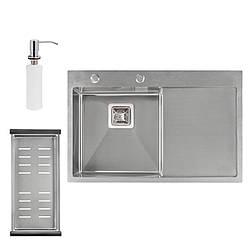 Набір 3 в 1 Qtap кухонна мийка DK7850L 3.0/1.2 мм Satin + сушарка + дозатор для миючого засобу