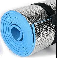 Коврик туристический 1800Х600Х5мм голубой каремат фольгированый для туризма фитнеса йоги