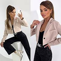 Женский укороченный пиджак,Ткань - Креп Костюмка