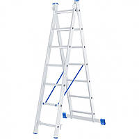 Лестница 2 х 7 ступеней алюминиевая двухсекционная Сибртех 97907