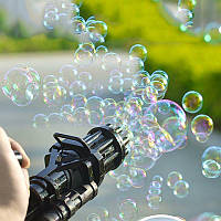 Кулемет генератор мильних бульбашок BUBBLE GUN BLASTER машинка для бульбашок автомат чорний код 10-1014