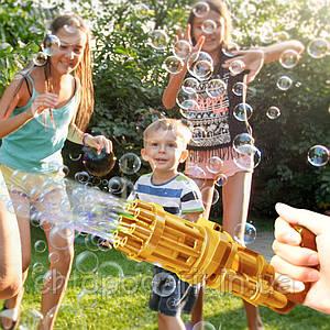 Пулемет генератор мыльных пузырей BUBBLE GUN BLASTER машинка для пузырей автомат Золото код 10-1015