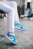 Кроссовки Nike Jordan 1 Retro Low Blue для девушек. Женская обувь сине-белого цвета Найк Аир Джордан Ретро 1