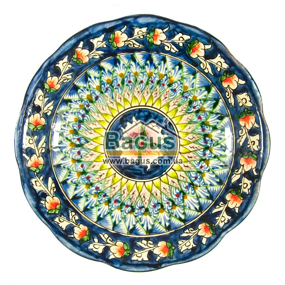 Тарелка узбекская диаметр 22см высота 4см ручная работа 2204-01