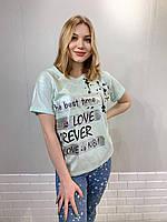 Турецкая трикотажная модная футболка с надписью голубая,7675, фото 1