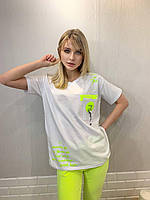 Турецкая женская трикотажная летняя футболка с карманом белая,7849, фото 1