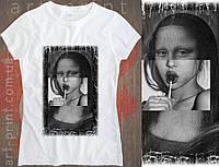 Футболка біла жіноча з оригінальним принтом Mona Liza, фото 1