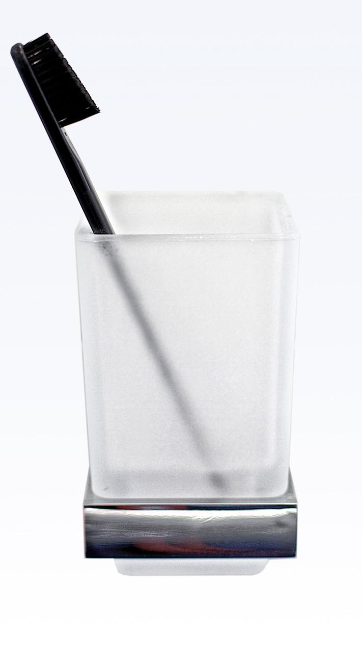Стакан для зубных щеток и пасты, серия Viya, хром, В 030