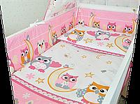 """Защита (ограждение, бортики, охранка, бампер) """"Сова"""" на всю кроватку из двух частей, 360х35 см Для девочек, Розовый"""