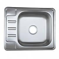 Врезная кухонная мойка из нержавеющей стали PLATINUM 5848 декор 0.8 мм.