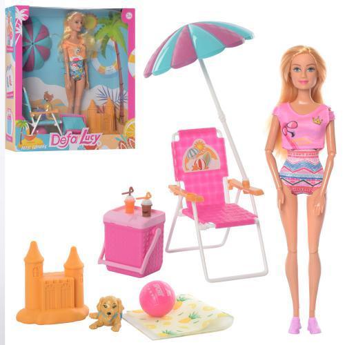 Лялька DEFA 8475 На пляжі, шарнірна, з собакою, 2 види
