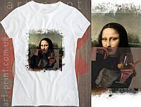 Футболка белая женская с оригинальным принтом Mona Liza, фото 1