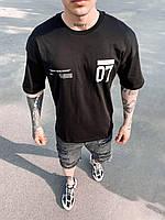 Черная футболка оверсайз мужская 07, фото 1