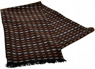 Клетчатый мужской шерстяной шарф 180 на 43 см 50149-22 Коричневый