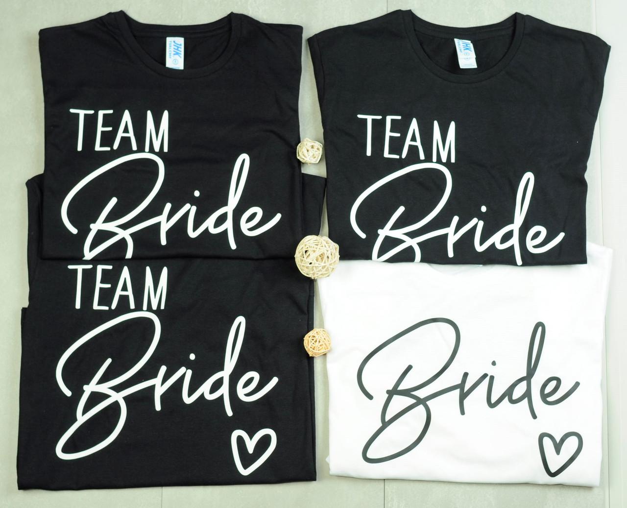 """Футболки с принтом на девичник """"Bride / Team Bride"""""""