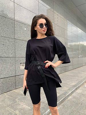 Чорна жіноча футболка оверсайз з поясом