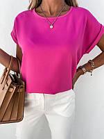 Блузка супер софт со спущенным рукавом на манжете оверсайз, футболка женская чёрный белый малина желтый оранж
