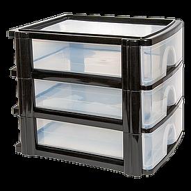 Комод-мини три секции А4 прозрачно-черный