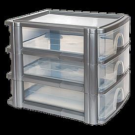 Комод-мини три секции А4 прозрачно-серый