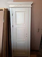 Двері міжкімнатні з ясена з карнизом, біла емаль
