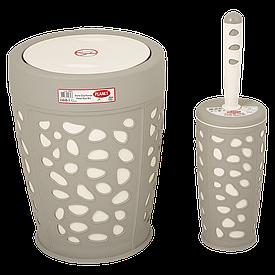 Набор для ванной комнаты Planet Stone 2 предмета серый-крем