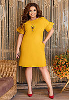 Летнее приталенное платье с кулоном больших размеров, фото 1