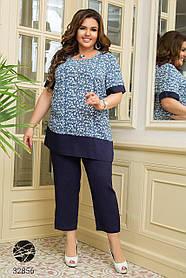 Брючный костюм с блузой с цветочным принтом размер: 50-52,54-56,58-60,62-64
