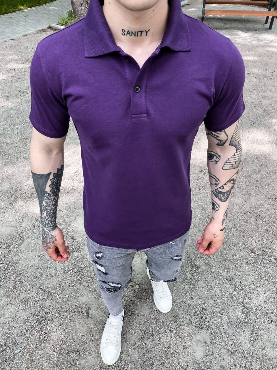 Футболка поло чоловіча фіолетова