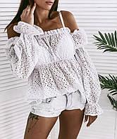 Женская стильная блузка с длинными рукавами и открытыми плечами из трикотажа прошва