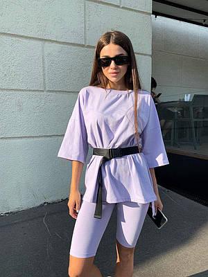 Женская летняя удлиненная свободная футболка с поясом