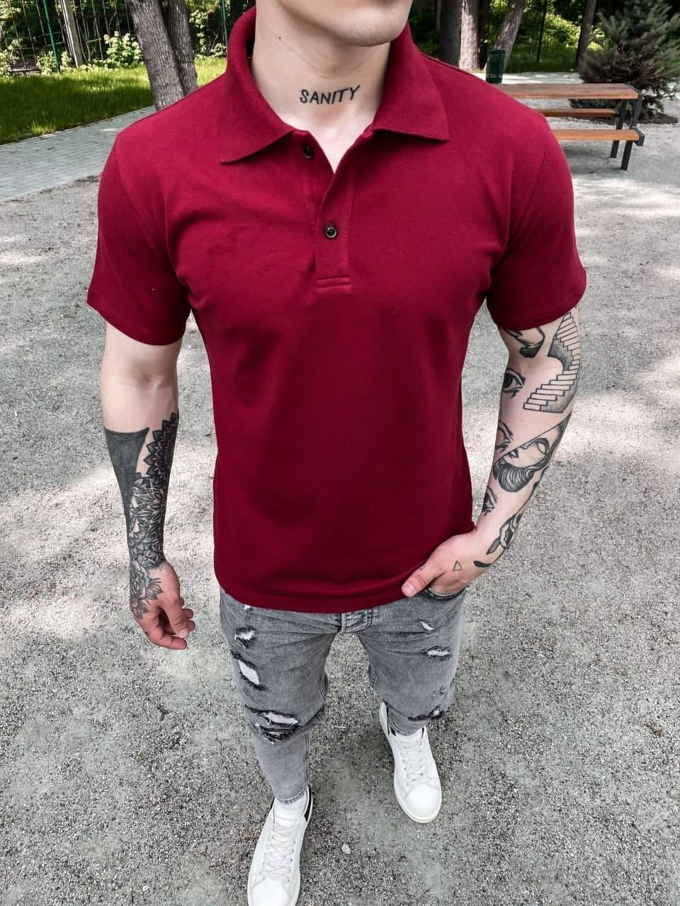 Мужская футболка-поло бордовая